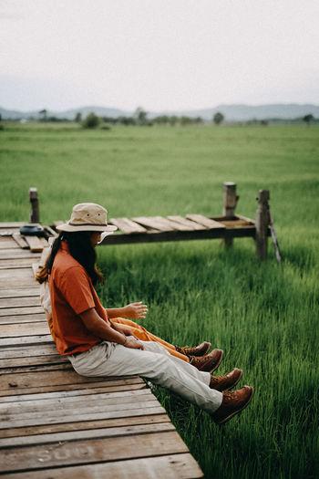Women Rural Scene Full Length Working Sitting Sky Grass Landscape