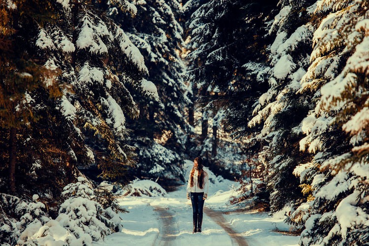 Woman Standing On Snow Covered Road Amidst Trees