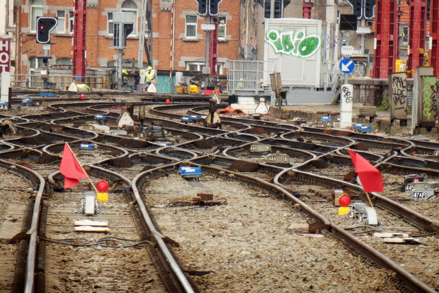 Railroad Tracks City Flags Outdoors Rail Railroad Track Railway Railway Track Railway Workers Red Shunt Switches Tracks Transportation Works