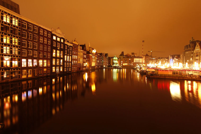 Amsterdam at night Amsterdam Houses Lights Mirror Night Time Photography Reflection Water Reflections Architecture Canal City Evening Exposure Illuminated Long Exposure Night Night Time No People Outdoors Reflection Sky Water EyeEmNewHere