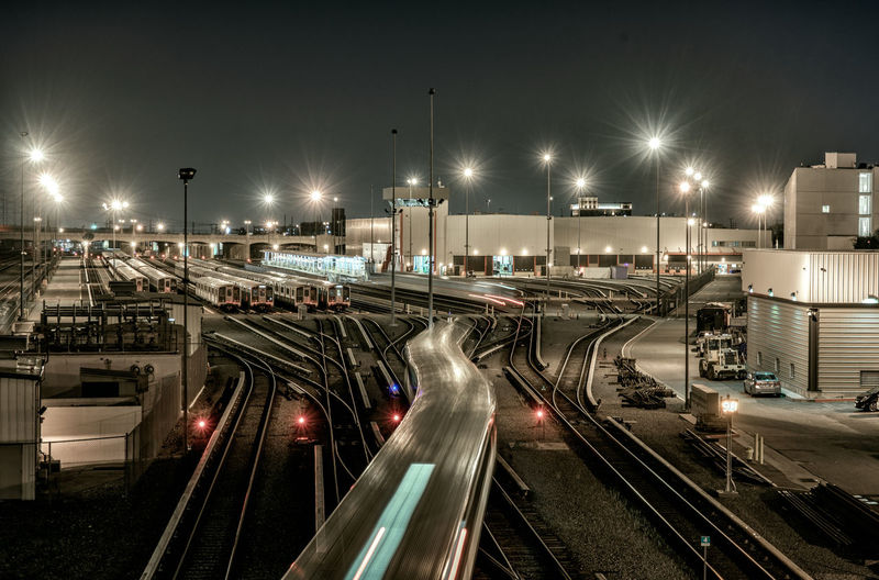 California La Los Angeles, California Night Photography Outside Rail Transportation Railroad Track Street Photography Train - Vehicle Transportation Urban