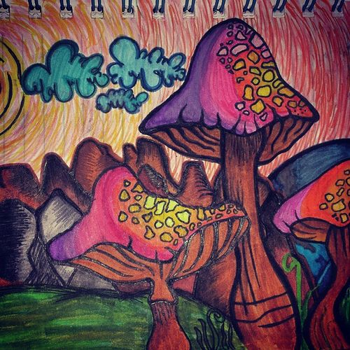Insidemysketchbook Drawingsesh Drawingsofinstagram Psychedelic Shrooms Mushrooms Desert Landscape Drawingmystressesaway Penskills Handmade Assortedcoloredgelpens Tree Sketch Drawings Doodles Igartwork Igdrawings ExpressYourself Art Abstract Drawingsesh Igartwork Imagination Colorful originalart thedetailsmakeitBetter gelpens crayolamarkers awesome original bymeShiirllz ❤ :)