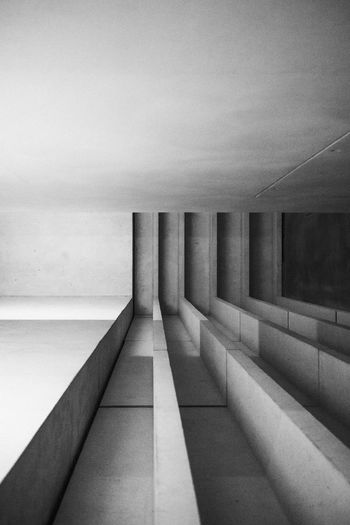 Dessau Grey Walls Meisterhäuser Modern Architecture Modern House View Abstract Architecture Black And White Building Built Structure Ceiling Concrete Grey Hardwood Floor House Indoors  No People Pattern Stone Wall - Building Feature Window