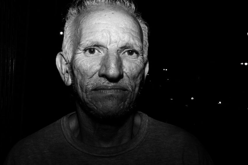 """Pedro"". April, 2017. Portrait Streetphotography Senior Adult Looking At Camera Headshot Black Background One Person Front View Gray Hair Studio Shot Adults Only Human Face Night Adult One Man Only People Close-up Only Men"