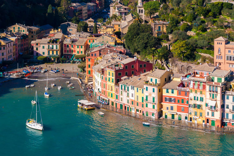 High angle view of boats in portofino