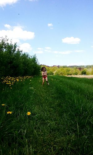 Kids On Tree Beauty In Nature Outdoors Green Color Grassy Grass Quiet Moments Summer! ♥ Kids At Play Kids Having Fun Tranquil Scene Yellow Flower