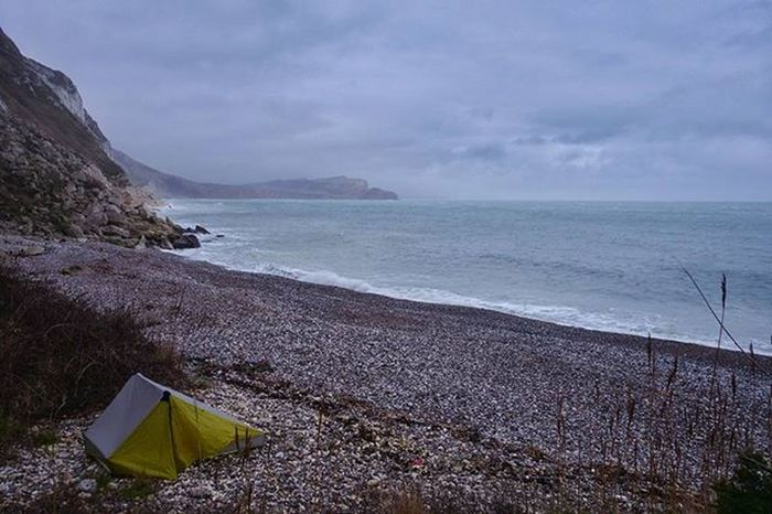 Checking-in for one thanks. The beach front room. Hike Uk Camping Beach Adventure Sleepingoutside Dorset Jurassiccoast Purbeck