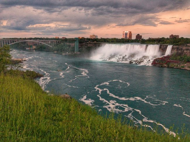 Niagara Falls at sunset Water Cloud - Sky Outdoors Sky Sunset Motion Nature Power In Nature Waterfall Scenics No People Beauty In Nature Spraying