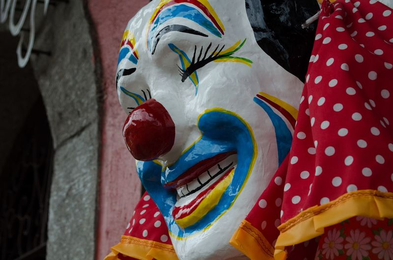 Close-up of clown mask
