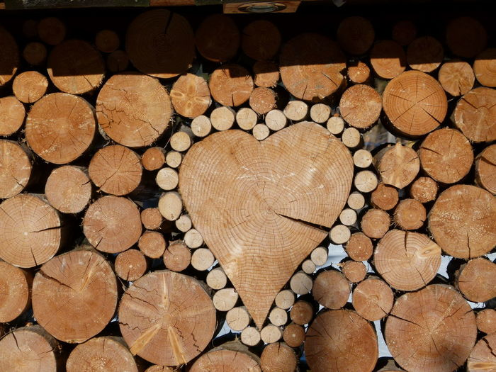 Close-up of heart shape wood amidst logs