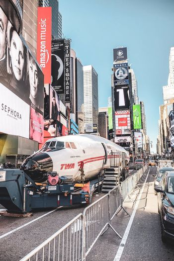NYC Photography NYC Street NYC Street Photography NYC LIFE ♥ Times Square NYC Plane Twa City Building Exterior Architecture Built Structure Sky Text Nature Mode Of Transportation Street Land Vehicle City Life Outdoors Travel
