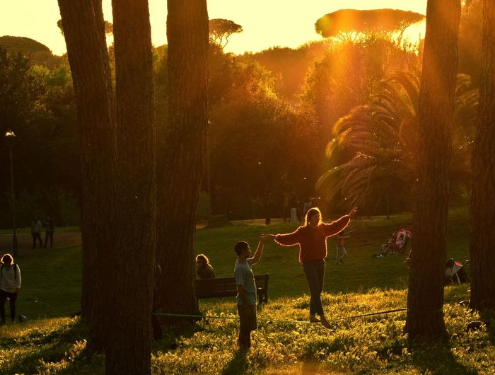 Tree Nature Sunset Playing Plant Full Length Outdoors People Grass Landscape Beauty In Nature Adult Men Only Men One Person Mammal Day Light And Shadow EyeEm Best Shots Nikond3300 Large Group Of People Illuminated Travel Tourism Travel Destinations