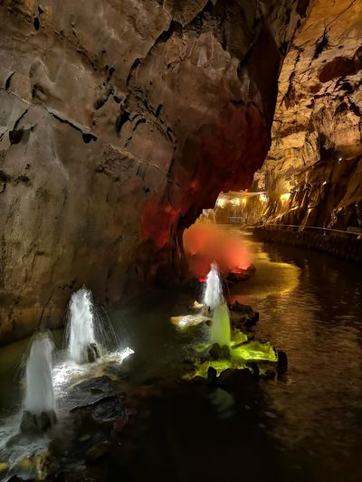 Panoramic view of river flowing through cave