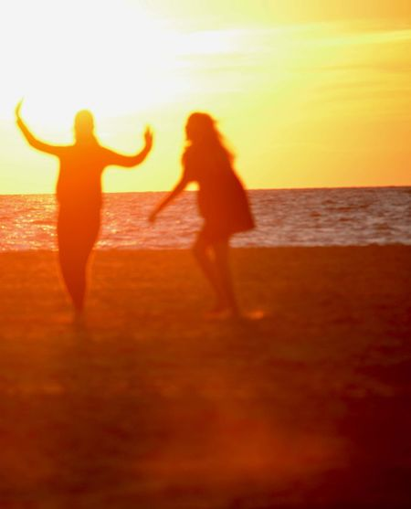 Sea Sunset Beach Orange Color Scenics Tranquility Non-urban Scene Tramonto Silhouette Romantic Sky Person Argentario Dance Dance Photography