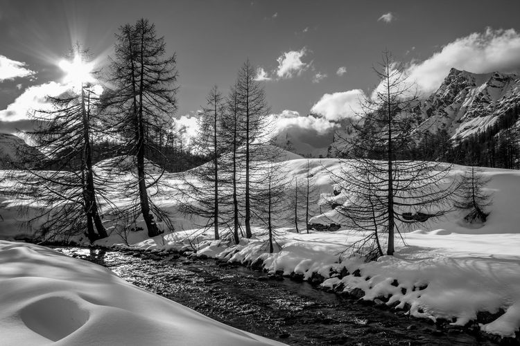 BW. Solo io, e il rumore del torrente. BW. Only me, and the sound of the stream. Winter Snow Cold Temperature Scenics - Nature Sky No People Snowcapped Mountain Beauty In Nature Blue Cloud - Sky Clouds And Sky Nature Winter Mountain Mountain Range Landscape Land EyeEm Best Shots EyeEmNewHere EyeEm Nature Lover EyeEm Selects EyeEm Gallery Blackandwhite Black And White Tranquility