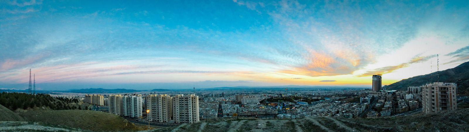 Tehran, Iran Panoramic Kuyefaraz Sunset Cityscape City Wide Sky Cloud - Sky Tower Dramatic Sky IPhone Photography Iphonepanorama