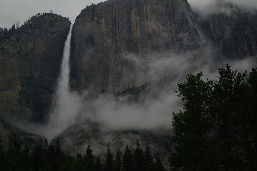 Beauty In Nature Day Motion Mountain Nature No People Outdoors Power In Nature Scenics Sky Tranquil Scene Tranquility Tree Water Waterfall Yosemite Falls Yosemite National Park