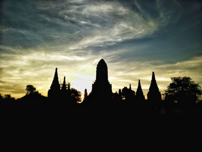 Tample Ayutthaya,Thailand Ayuthaya City Statue Place Of Worship Sculpture Spirituality Religion Silhouette Sunset Pagoda Sky
