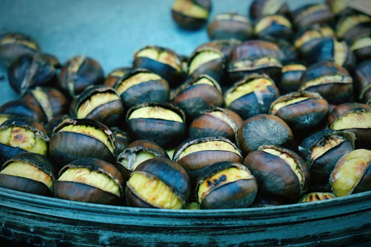 High Angle View Of Roasted Chestnuts