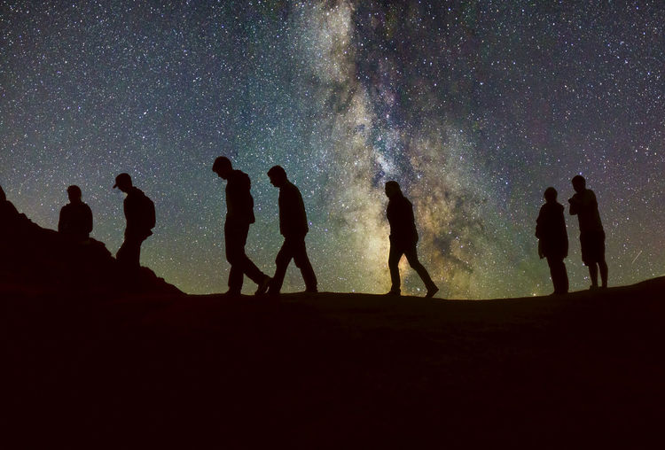 Silhouette people standing on land against sky at night