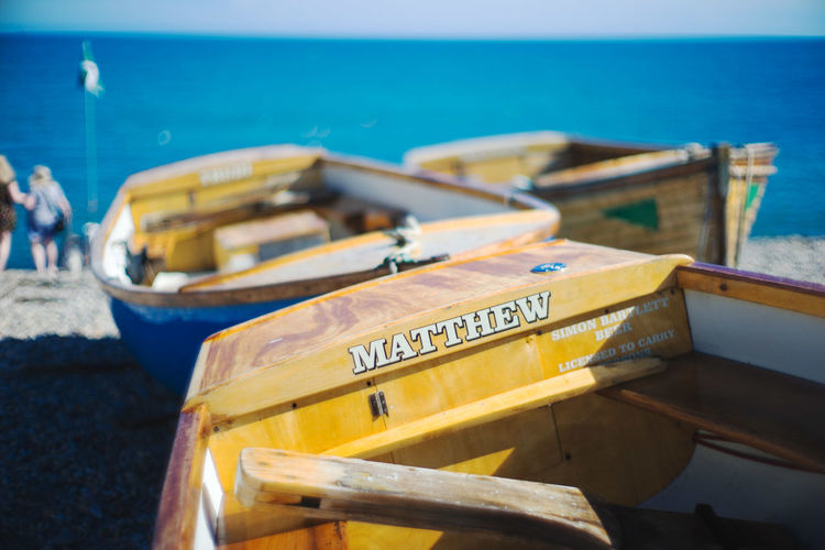 Matthew Beach Boat Close-up Day England Nature Nautical Vessel Outdoors Sea Sky Transportation Water Yellow