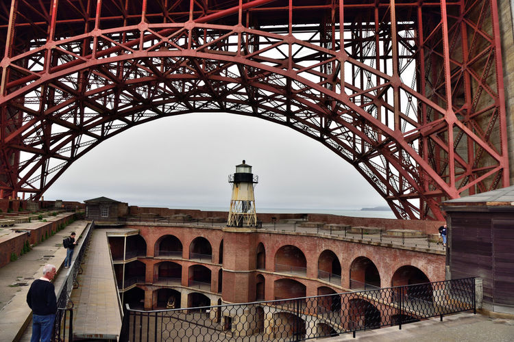 Fort Point Lighthouse 4 Fort Point Lighthouse Lighthouse_Collection Golden Gate Bridge Beneath South Anchorage Built Atop Forts Roof 3rd Tower Built 1902 4th Order Fresnel Lens Original Lighthouse Built 1853 2nd Lighthouse Built 1863 Architecture Iron Skeletal Tower Wrought Iron Stairs Fencing Military Fort Arches Masonry Barracks Casemates Men On Rootop Penthouses Cannon Mounts Parapet Wall Overlooks Parade Grounds San Francisco Bay Bridge Arch Barbette Tier Lighthouse Photography Lighthouse_lovers