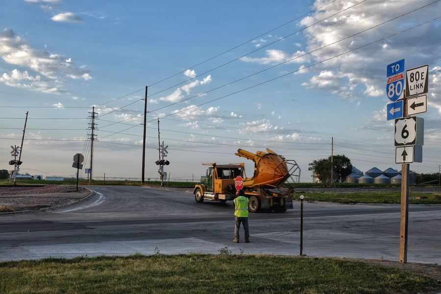 Tree transplant truck. A day in the life photo essay. Summer solstice June 2016 Friend, Nebraska A Day In The Life Camera Work Check This Out Cloud - Sky EyeEm Best Shots Fuji X100s Fujifilm Highway Highway Photography Landscape Machinery MidWest Nebraska On The Road Photo Essay Remote Location Road Road Sign Rural Rural America Sky Small Town Small Town USA Streetphotography The Way Forward