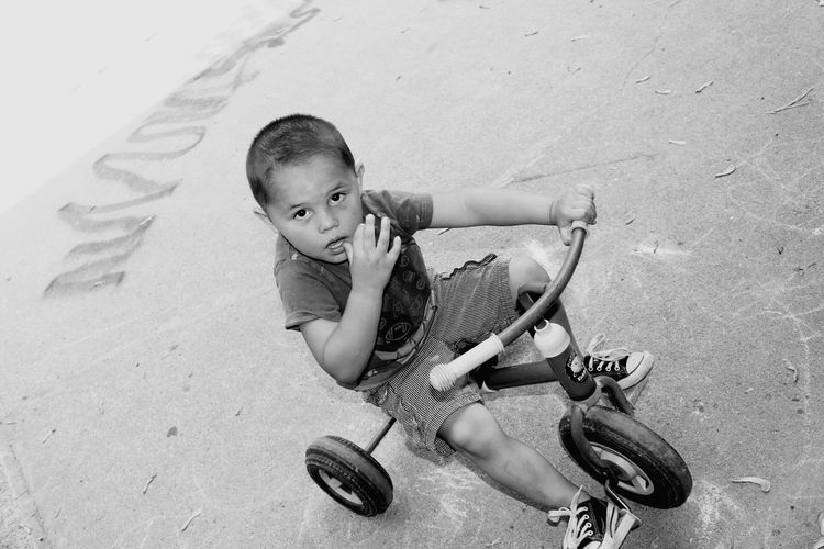 High Angle Portrait Of Boy Riding Tricycle On Footpath