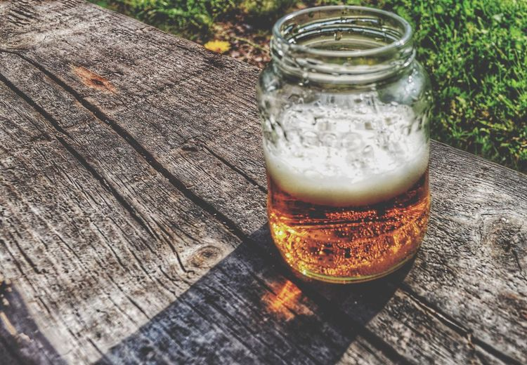 Summer ☀ Beer Relaxing Enjoying Life Summertime July 2016 43 Golden Moments Train Station Lager Beer Wood - Material Drinking Jar Shadow Vacation Vacay2016