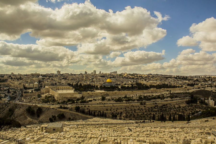 Architecture Beauty In Nature Building Exterior Built Structure City Cityscape Cloud - Sky Day Holy Land Jerusalem Mount Nature No People Of Old City Olives Outdoors Scenics Sky The Dome Of The Rock Press For Progress Colour Your Horizn