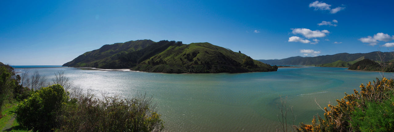 Panorama of Pepin Island, Nelson, NZ New Zealand Landscape Beauty In Nature Blue Clear Sky Day Island Mountain Nature No People Outdoors Panoramic Scenics Sea Sky Tranquil Scene Tranquility Water