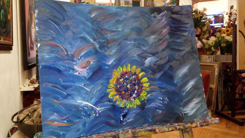 Подсолнушек в море: Art вторая картина маслом в жизни. Sunflower into the Sea