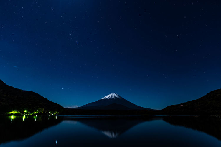 Japan Star  Tranquil Scene Scenics - Nature Beauty In Nature Sky Tranquility Mountain Star - Space Water Night Reflection Lake Waterfront Nature No People Astronomy Mountain Range Idyllic Galaxy Non-urban Scene Mountain Peak