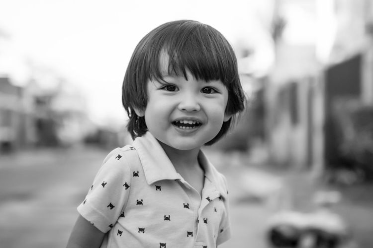 Portrait of boy in  black .and white