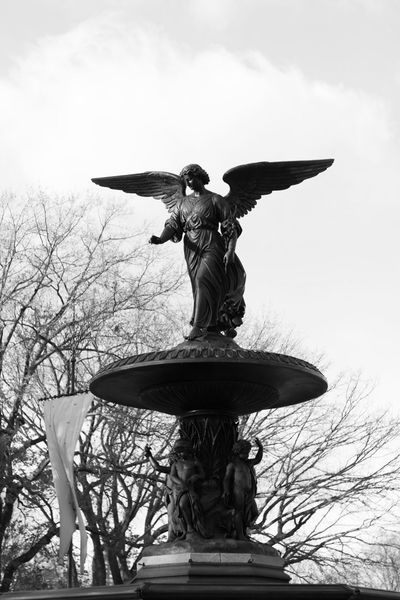 Art And Craft Bethesda Fountain Bethesda Fountain Statue Bethesda Fountain, Central Park, NYC Blackandwhite Day Female Likeness Human Representation Low Angle View New York New York City No People Outdoors Sculpture Sky Statue EyeEmNewHere Break The Mold