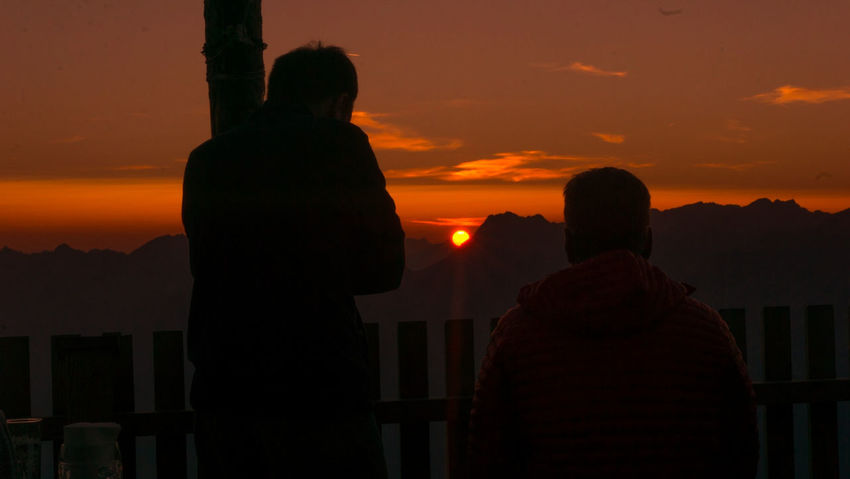 Sunset Silhouette People Sky Outdoors Nature Mountain Landscape