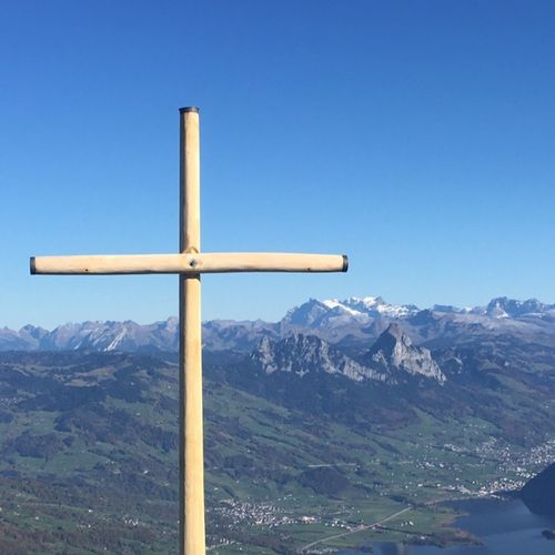 View from Mt. Rigi, Switzerland Cross Mountain Mountain Range Blue Clear Sky Outdoors Complimentary Colors Beauty In Nature Travel
