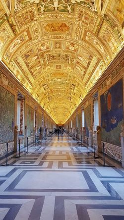 Fresco's and marble everywhere you look... Fresco Decorations Gold Rome Italy VaticanCity Unimaginable City Architecture Ceiling Light  Interior Passageway Hallway