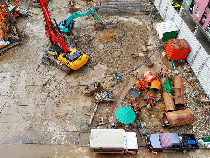 High angle view of garbage at construction site