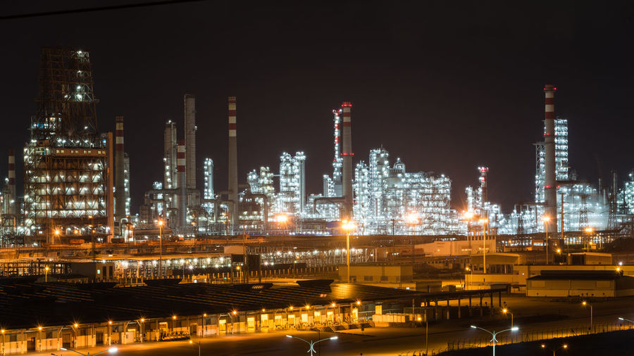 Night Light Architecture Building Exterior Built Structure Distillation Factory Illuminated Industry Night No People Oil Industry Oil Refinery Outdoors Petrochemical Plant Refinery Smoke Stack