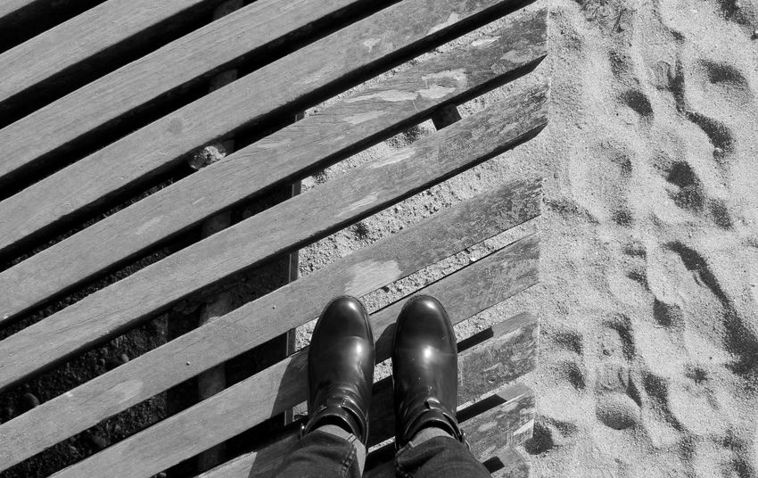 Blackandwhite Diagonal Geometry My Point Of View Onthebeach Power Lines Shoes Taking Photos Taking Pictures Walking Around Wooden Pattern Pieces
