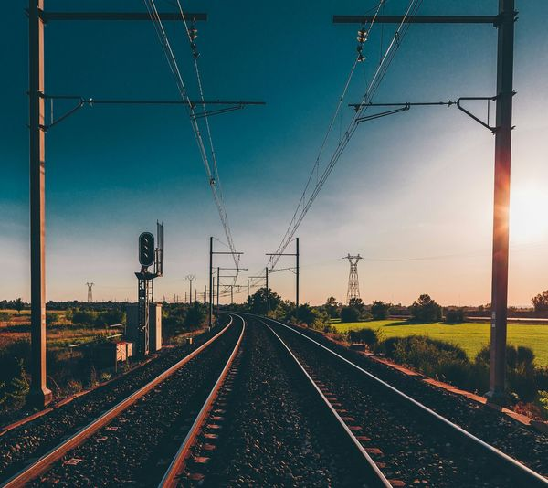 EyeEm Best Shots Rail Transportation Railroad Track Transportation The Way Forward Landscape Sky Electricity Pylon Connection Diminishing Perspective Blue Travel Destinations Rural Scene Tranquil Scene Day Track Cable Railway Track 500px Railroad Track Transportation Rail Transportation The Way Forward Landscape Connection