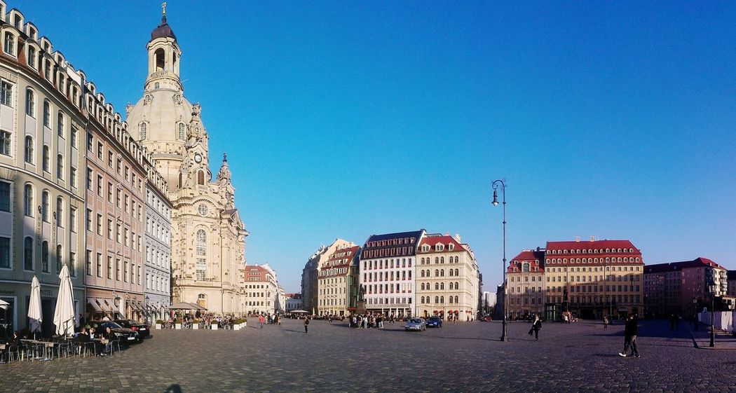 Dresden Frauenkirche Dresden Panorama Cityscapes Blue Sky Neumarkt Church Barock Architecture Barocco Architecture