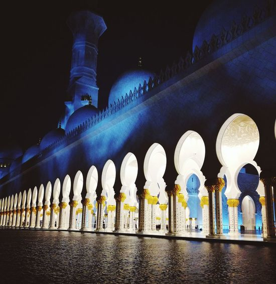 My Favorite Place In A Row Architecture Low Angle View Built Structure Arch Religion Spirituality Illuminated Place Of Worship Mosque Building Exterior Outdoors Architectural Column Grand Mosque Multi Colored Electric Light No People Colonnade Arcade Famous Place BURJ HALIFA