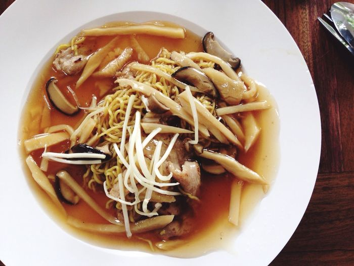 Fried Thin Yellow Noodle Thin Noodle Yellow Pork Sticky Soup Top View Fried Noodle Chinese Style Lunch Kroa Apsorn Thai Chinese Restaurant The Street