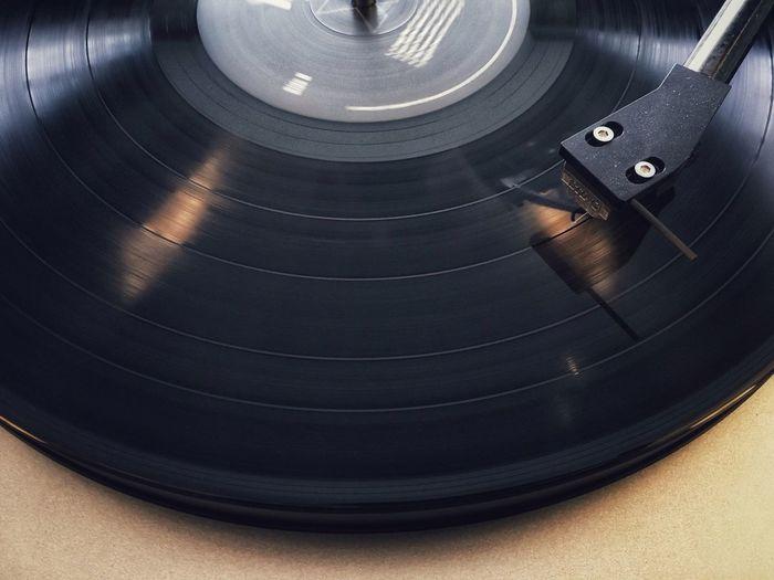 High angle view of gramophone