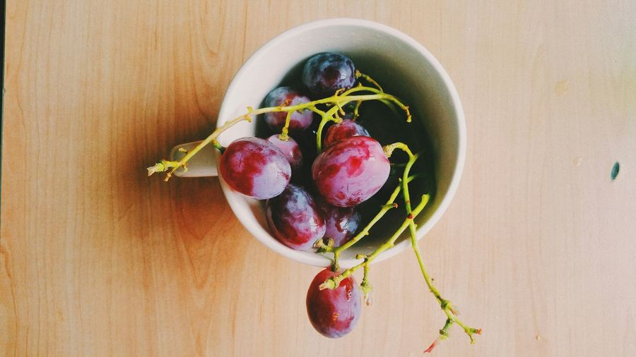 Directly Above Shot Of Red Grapes In Bowl