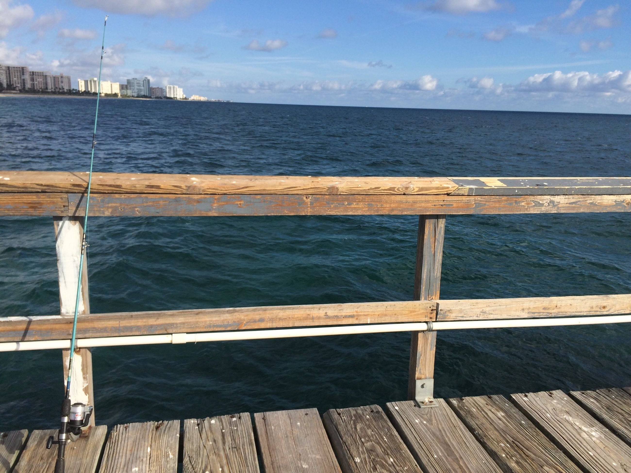 water, sea, pier, railing, sky, wood - material, tranquil scene, tranquility, horizon over water, jetty, rippled, scenics, nature, wood, beauty in nature, wooden, day, idyllic, ocean, outdoors