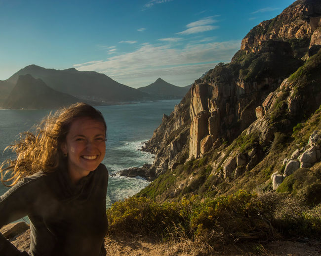 Beauty Cape Town Cape Town, South Africa Female Traveler Girl Smiling Hair In The Wind Mountain Range Ocean Ocean View Sea Smile Smiling South Africa Tourism Travel Travel Photography Traveler Woman Smiling Woman Traveler Young Adult Young Adult Smiling Young Women People And Places