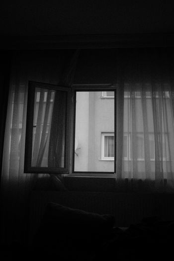 Window Architecture Built Structure Indoors  No People Building Domestic Room Glass - Material Home Interior Day House Curtain Low Angle View Dark Transparent Nature Copy Space Blackandwhite Black And White